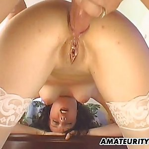 Amateur girlfriend in stockings ass fucking action with creampie