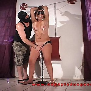 Ovara impaled and forced to cum at a party.