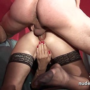 Amateur granny in lingerie hard dual penetrated and fisted