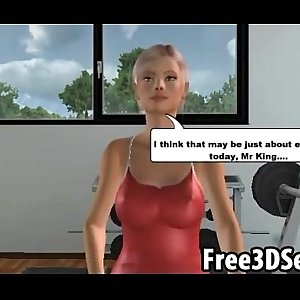 Sexy 3D cartoon honey motivates her man to work out