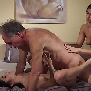 Old Young Porn Teens share old man and ride his wrinkled shaft gulp cum