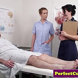 Threeway nurse facialized with huge explosion
