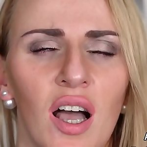 Wicked lezzie centerfolds are stretching and fist fucking anals