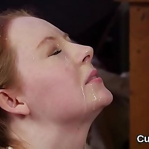 Spicy hottie gets cumshot on her face eating all the jizz