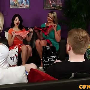 Bigtitted british femdoms tug sub in group