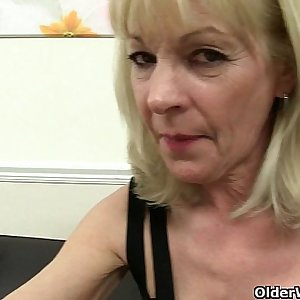 English grannies Amanda Degas and Elaine fuck a dildo