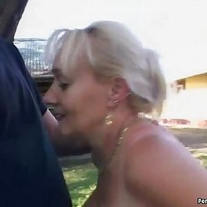 Chesty granny gets pounded in the back yard