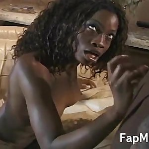 Sexy black girl doing a hard hard-on