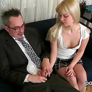 Lovable college girl was seduced and reamed by her elderly instructor