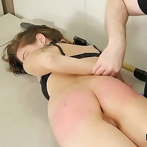 Nasty sweetie was taken in ass hole assylum for harsh therapy
