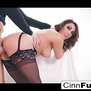 Christiana gets her mouth and pussy packed with a big shaft
