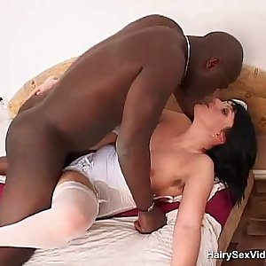 Hairy mama being stuffed by black guy