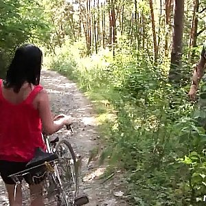 Chesty biker chick Terry gets pounded in woods