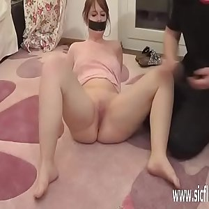 Going knuckle deep his submissive GF in bondage