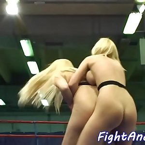 Chesty lezzies wrestling and pussylicking