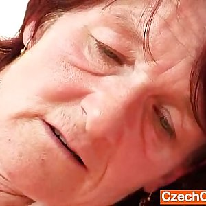 Ugly oma Matylda spreads and fucktoys shaggy piss hole