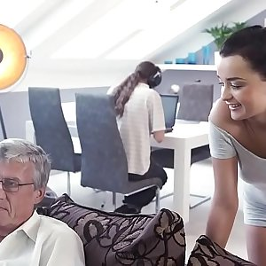 DADDY4K. Jizz flow in mouth culminates nice sex of daddy and young girl