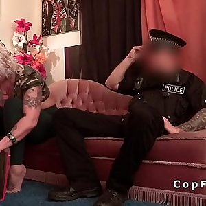 Blonde alt Milf takes cops big dick on the sofa