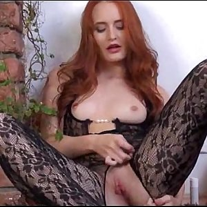 Gyno dildo in her thick redhead vagina