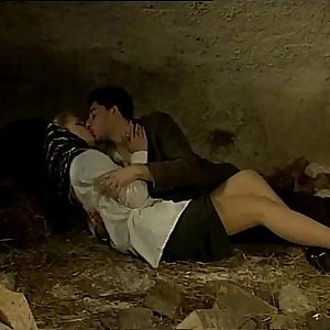 Italian porn vintage: hookup in a cave with a sexy country lady