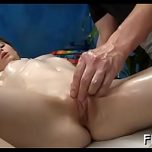Sexy 18 year old gril gets fucked hard from behind by her masseur