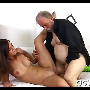 Hot young playgirl screwed by old guy