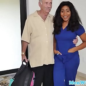 Busty young ebony bouncing on seniors cock