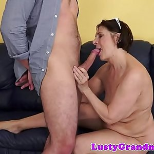 Hairy amateur grandma spoon banged after bj
