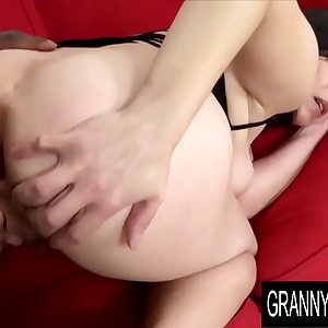 Granny Vs BBC - Hairy Older Marika Shine Gets Ass Fucked and Creampied