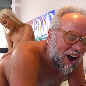 Chary Kiss and her a much older paramour - Grandpas Fuck Teens