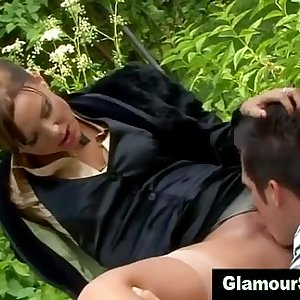 Clothed classy skank gets fucked