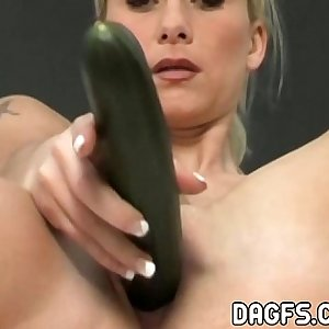 Passionate cucumber getting off