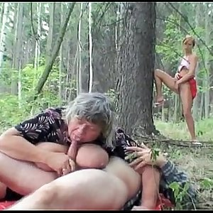 Young horny girl fucks old couple out