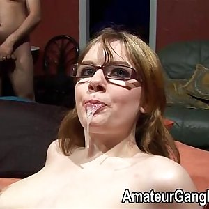 Teenager in glasses lets older guys cum in her mouth