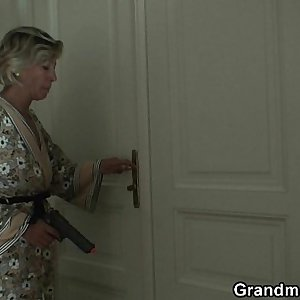 Blonde old mature swallows two youthfull dicks