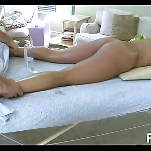 Pleasuring babe with oil massage