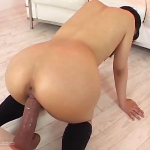 asian girls playing with huge dildo