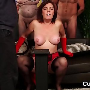 Slutty bombshell gets cum shot on her face swallowing all the ejaculate