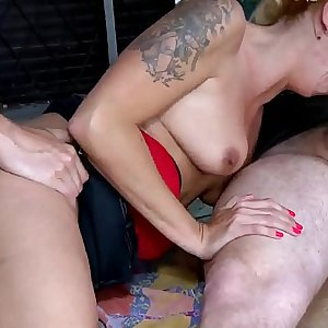 Hot blonde milf hard fucking and double penetration