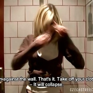 Blonde Girl Going knuckle deep Pussy in Toilets Room