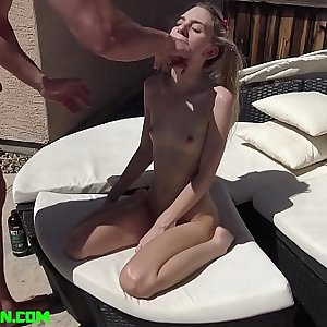 Tiny Ponytailed Spinner Chanel Shortcake Face Fucked & Fucked Hard by the Pool