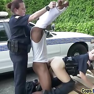 Threesome fucking with big tittied cops