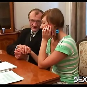 Teacher is pounding playgirl wildly on the kitchen table