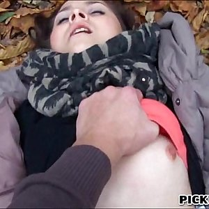 Unexperienced brunette Euro slut Emily pounded in public for cash