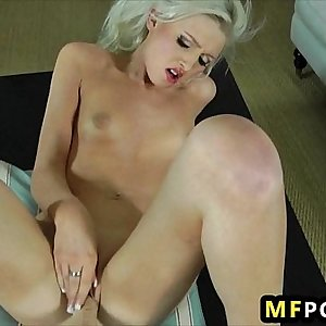 Upscale blonde gets her pussy pounded by fucking machine Layden Sin 2