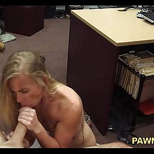 Small Tit Blonde Amateur Sucking Dick in Back Office